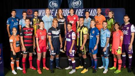 A-League and W-League players launch the new season together. (Mark Metcalfe/Getty Images)