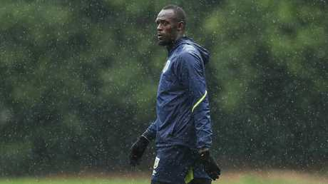 Usain Bolt at training with the Central Coast Mariners. Picture: Brett Costello
