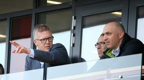 AFL footy operations manager Steven Hocking, David Rath and James Podsiadly are backing the new rules. Picture: Michael Klein