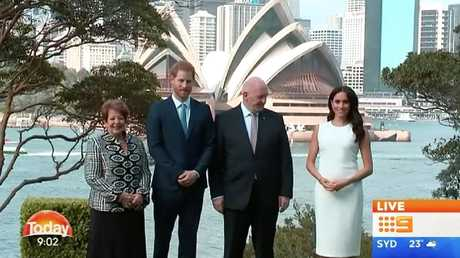 Harry and Meghan have met with Governor-General Peter Cosgrove and Lady Cosgrove this morning.