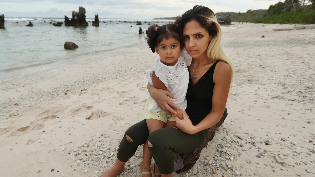 Iranian refugee Sahar with her daughter Melanie. Sahar has been detained for five years. Picture: Lyndon Mechielsen