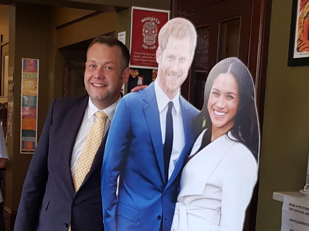 Dubbo mayor Ben Shields with royal cutouts.