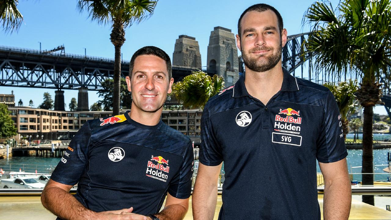 Red Bull teammates Jamie Whincup (left) and Shane van Gisbergen. Picture: AAP
