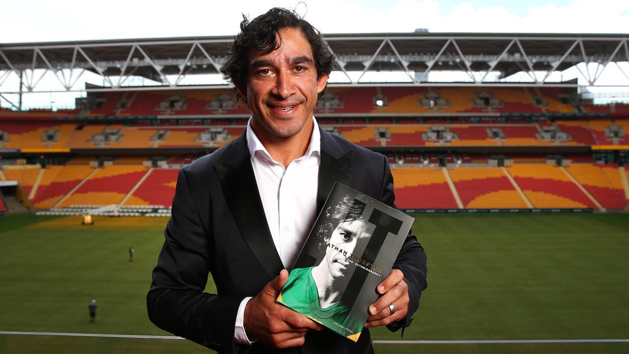 Johnathan Thurston launches his autobiography at Suncorp Stadium.
