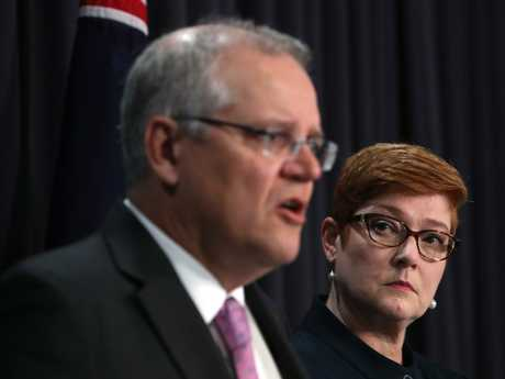 PM Scott Morrison and Foreign Affairs Minister Marise Payne speaking at a press conference at Parliament House in Canberra. Picture Kym Smith