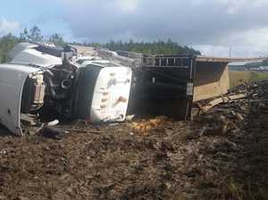 Truckie escaped horror Bruce Hwy semi rollover