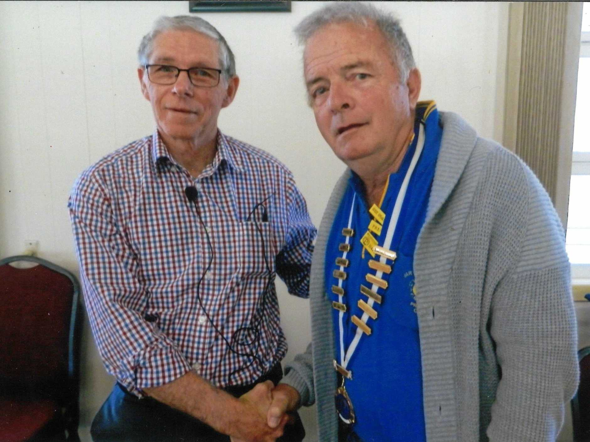 Guest speaker for July's Maryborough Probus meeting was Jim Hohnke who spoke about the missionary ship the Douless, pictured with president David Booth (right).