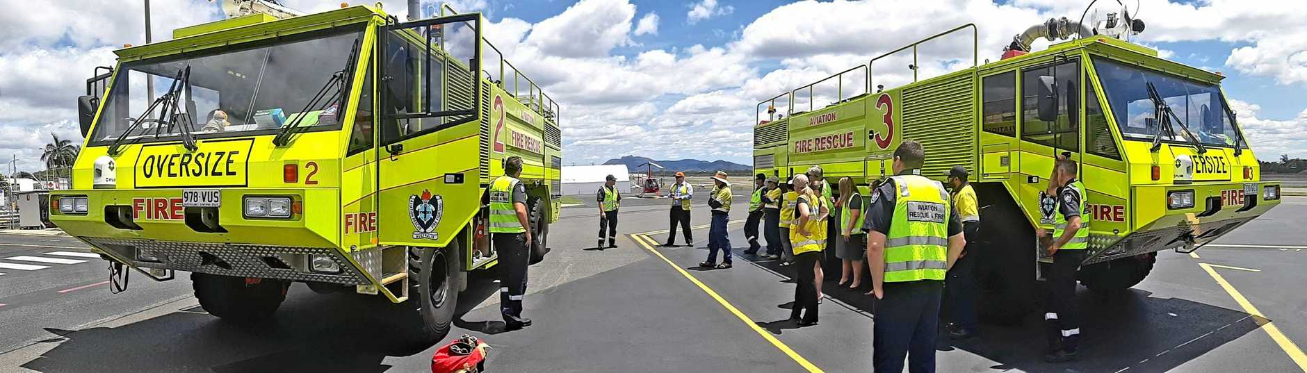 READY FOR ACTION: The Gladstone Airport team and terminal users had the opportunity to check out the Aviation Rescue Fire Fighting Service trucks this week as part of Airport Safety Week.