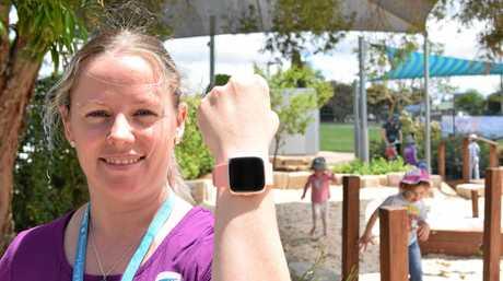 Daycare teacher Katrina Pratt records close to 16000 steps on her Fitbit Versa each day.