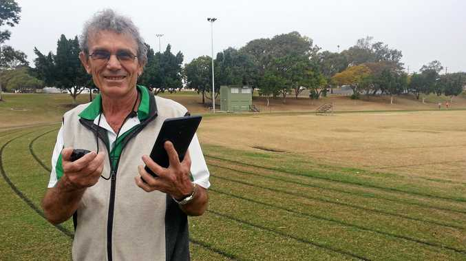 KEEPING TABS: Ipswich and District Athletic Club official and coach Vic Pascoe.