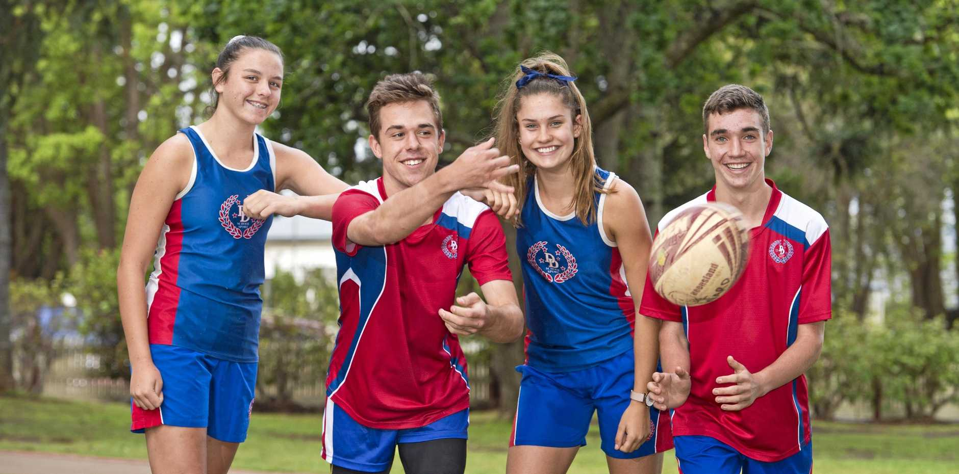 STATE REPS: Touch players (from left) Georgia Bartlett, Ben Moore, Matilda Leicht and Ryan Ward will represent Queensland at the national titles in Hobart.