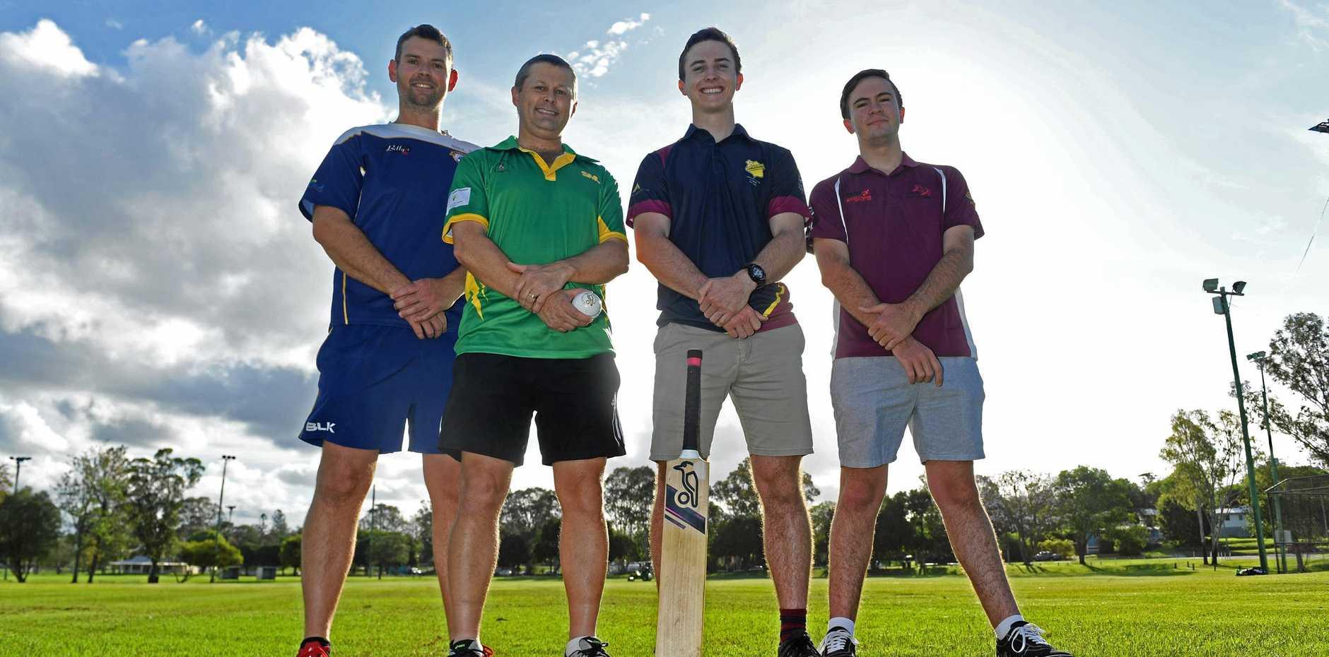 NEW SEASON: Valleys' captain Brad Brigg, Wests' captain Graeme Bembrick, Harlequins A-grade batsman Luke Lidbetter and Colts Reserve grade batsman Thomas Lee.