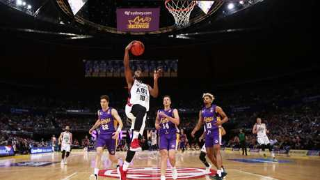 Adeklaide's Ramone Moore drives through the Kings defence at Qudos Bank Arena in Sydney last weekend. Picture: Matt King/Getty