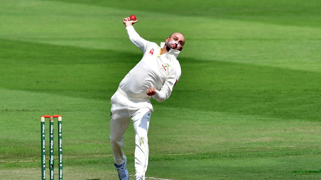 Nathan Lyon claimed four wickets in just six balls to decimate Pakistan's top order. Picture: AFP