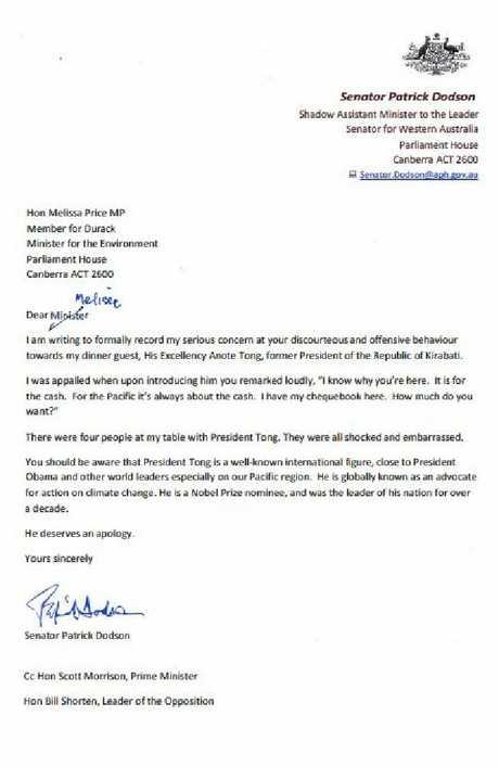 The letter sent by Senator Patrick Dodson to Environment Minister Melissa Price.