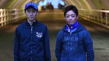 Japanese jockey's Ryusei Sakai (left) and Yuga Kawada will ride Sole Impact and Chestnut Coat respectively in the Caulfield Cup. Picture: AAP
