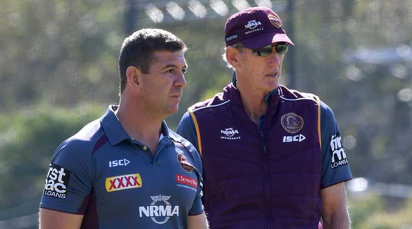 Broncos assistant coach Jason Demetriou (left) has been backed to take over from Wayne Bennett.