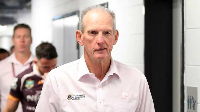 Coach Wayne Bennett after the loss and on his way to post game presser, NRL Broncos v Dragons Round, Suncorp Stadium, Milton. Photographer: Liam Kidston.