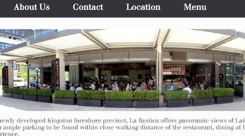 A screenshot from the website of Canberra's La Rustica restaurant.