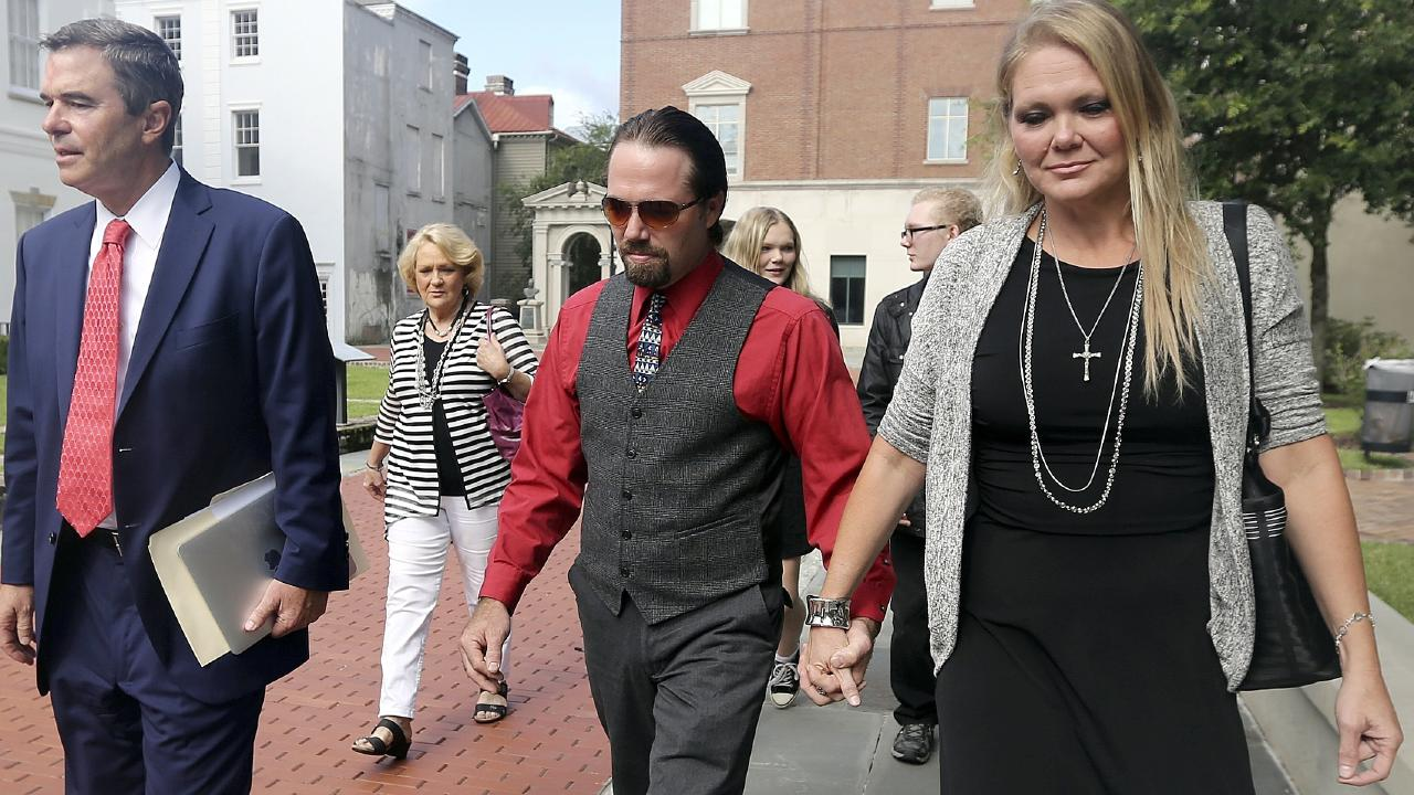 "Tammy Moorer (R) forced her husband Sidney Moorer to get a tattoo of her name above his crotch as ""punishment"" for cheating, a witness testified at her trial in Conway, South Carolina on Monday. Photo: Janet Blackmon Morgan/The Sun News via AP"