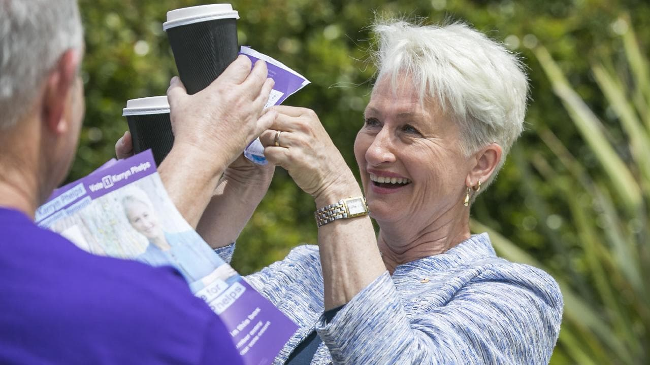 Independent candidate in the Wentworth by-election, Kerryn Phelps, at pre-polling at Waverly Oval. Picture: Dylan Robinson.