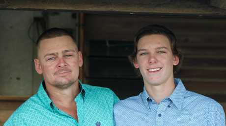 Heath Amos with his son Harley, who was killed after attending an 18th birthday celebration.