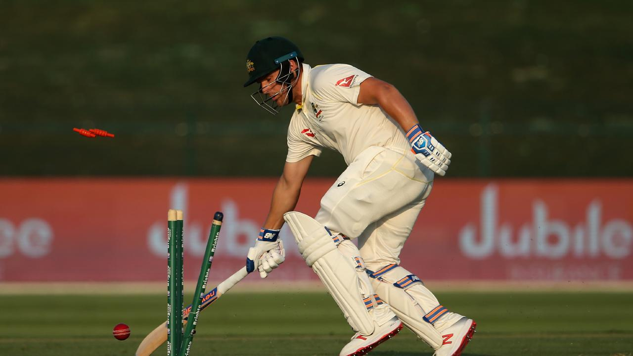 Aaron Finch has some work to do on day two after quick wickets soured Australia's day in the field. Picture: AFP