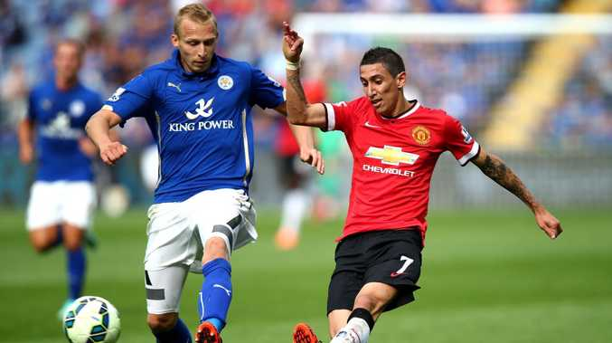 Richie De Laet in action for Leicester City against Manchester United's Angel di Maria in 2014. Picture: Getty Images