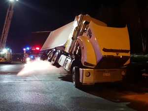Truck rollover on Pacific Highway