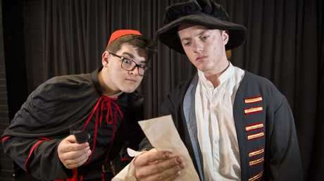 Will Stallman (left) and Tom Dearnaley in the Toowoomba Grammar School senior acting academy students and National Institute of Dramatic Arts director Chris Thomson adaption of The Three Musketeers, Thursday, October 18, 2018.