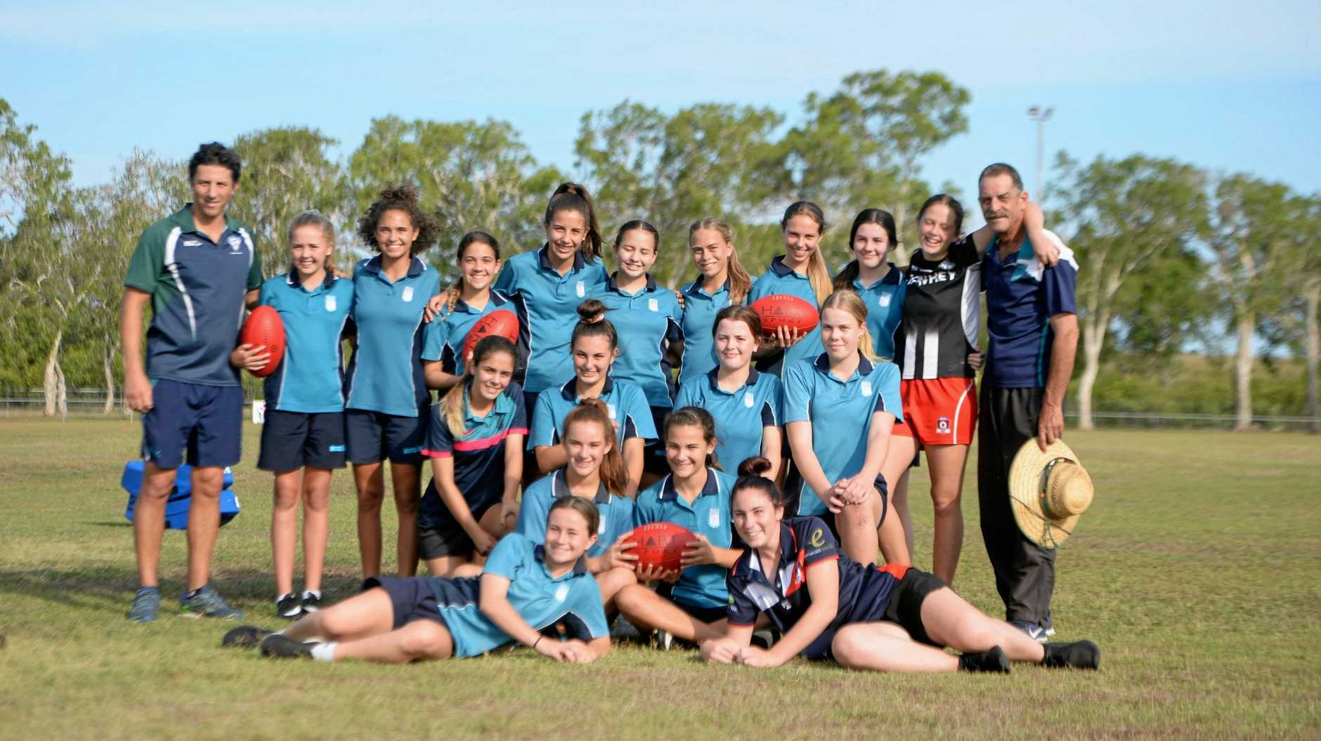 The Mercy College Mackay team set to compete in the Tribal Sport AFL Queensland Schools Cup State Finals.