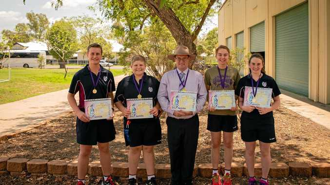 STATE CHAMPIONS: The Science/Engineering team from St John's won first place at the State Opti-Minds final. (From left) Jak McVeigh-Davey, Heath Waugh, Mr Nathan Stone, Amy Shaw and Hannah Coffey