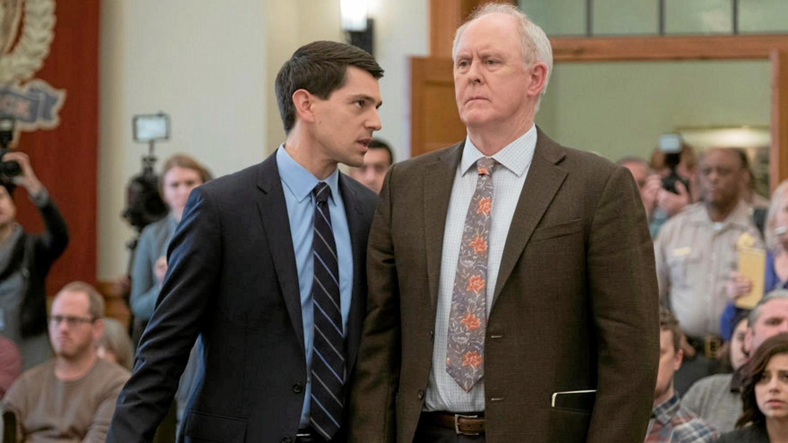 Nicholas D'Agosto and John Lithgow in a scene from the TV series Trial & Error.