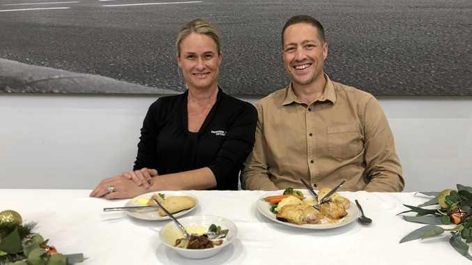 Toowoomba Hospital Foundation CEO Alison Kennedy and Civic Church's Matt Gregg.