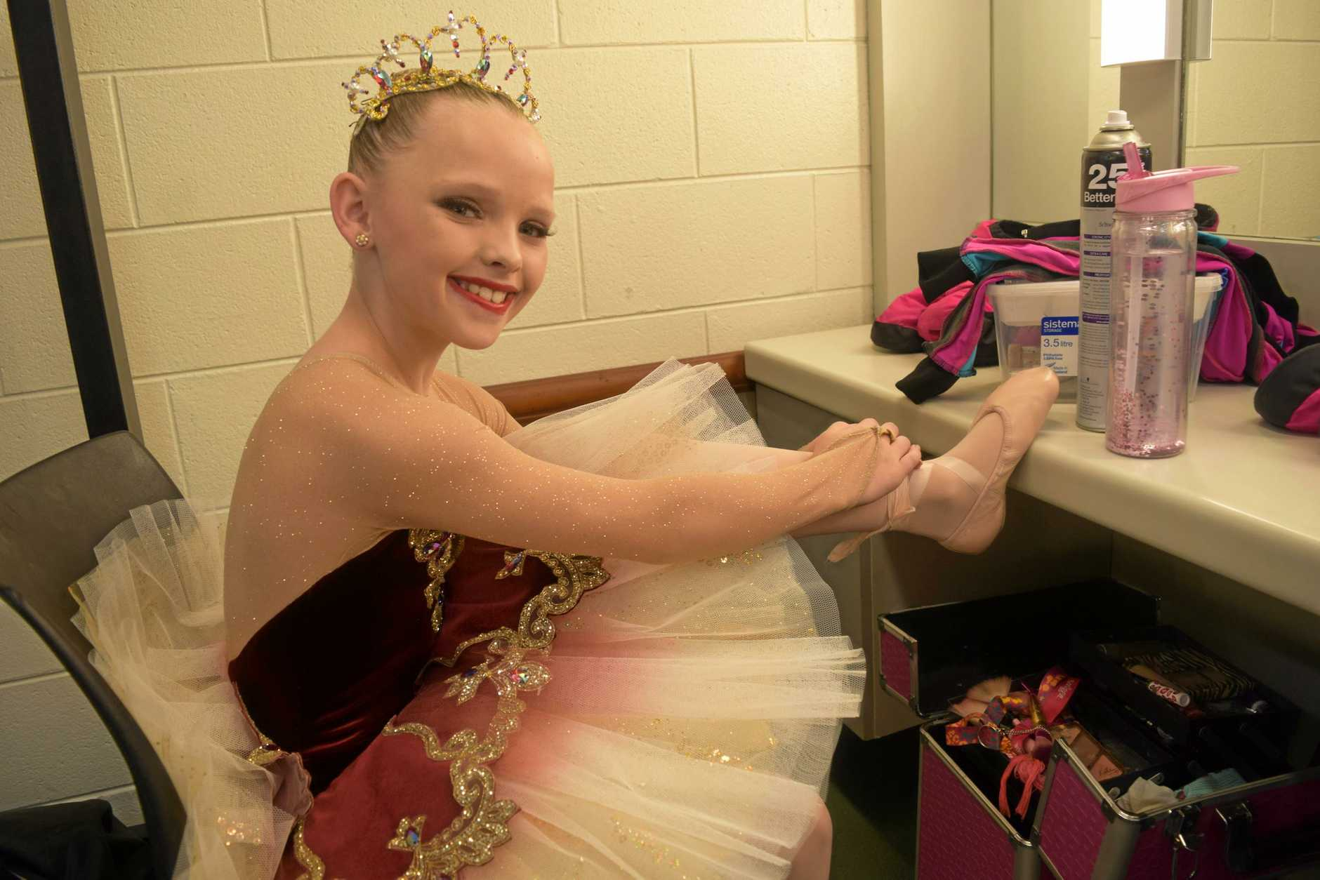 Laila Bryant, 10, gets ready for her ballet solo.