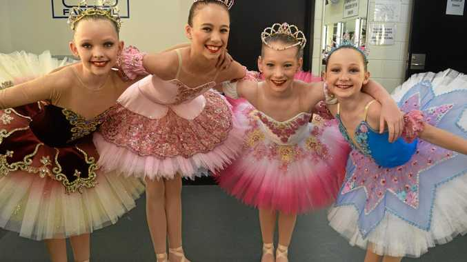 TAKE A BOW: Laila Bryant, 10, Kaitlin Naylor, 10, Taylah Garnham, 9, and Bella McClarty, 9, set for their 9 years classical ballet solo performances.