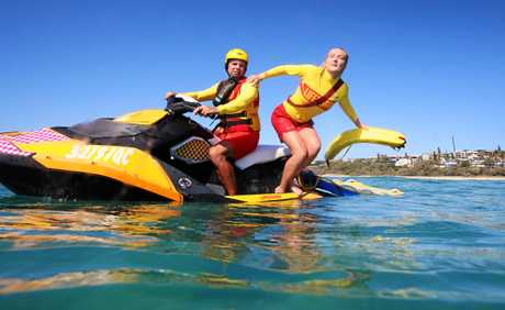 Sunshine Beach Lifeguards Max Pettigrove on Jetski  and Renee Gregory will be part of ramped up Water Patrols this Summer between Sunshine Beach and Noosa after it was named as the States worst Black Spot in Surf Life Saving Queenslands Annual Report. Photo Lachie Millard