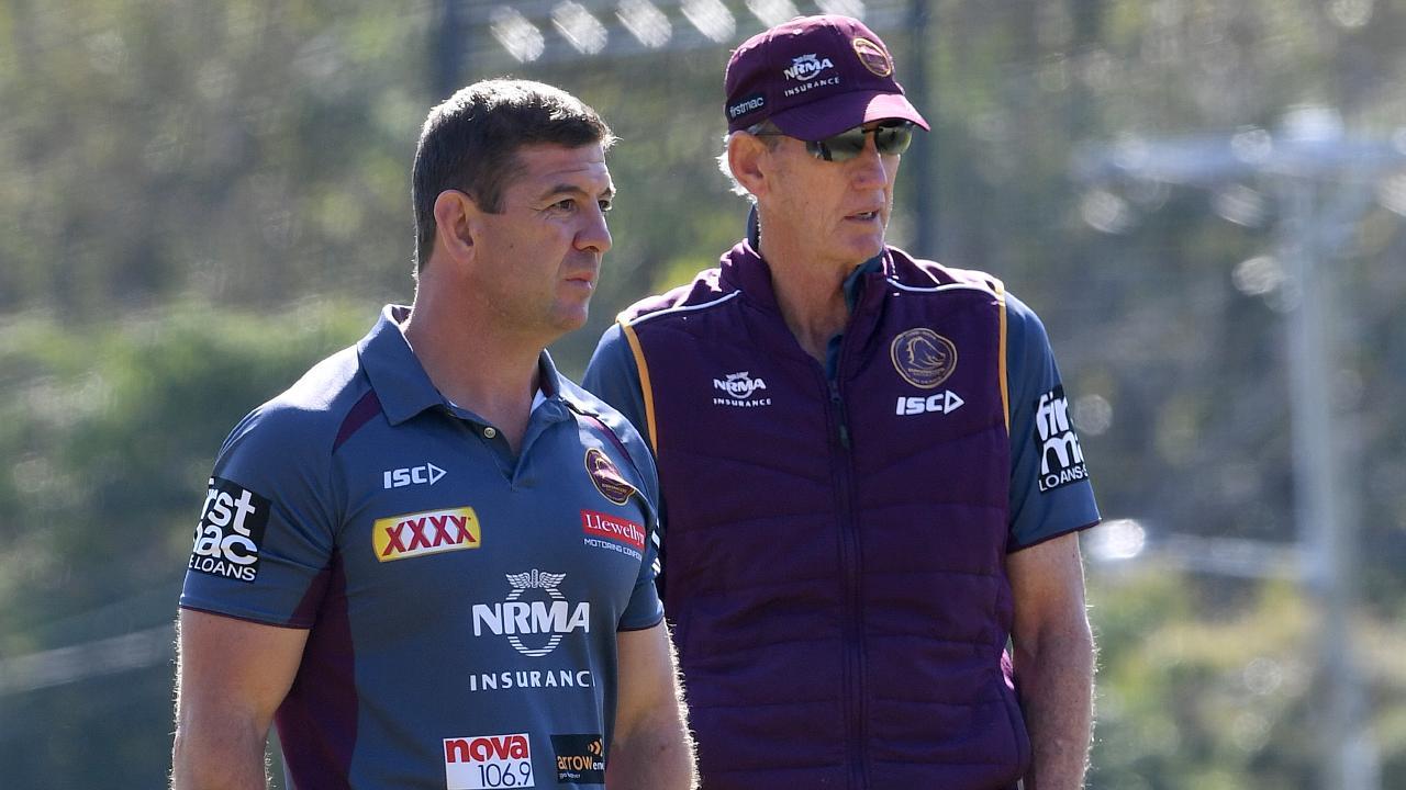 Broncos assistant coach Jason Demetriou (left) with Wayne Bennett. Picture: AAP