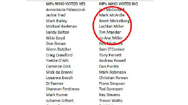 It was mostly male MPs who voted to keep abortion illegal in Queensland.