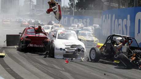 A crash in an Aussie Racing Cars Series race at the Gold Coast. Picture: Jerad Williams