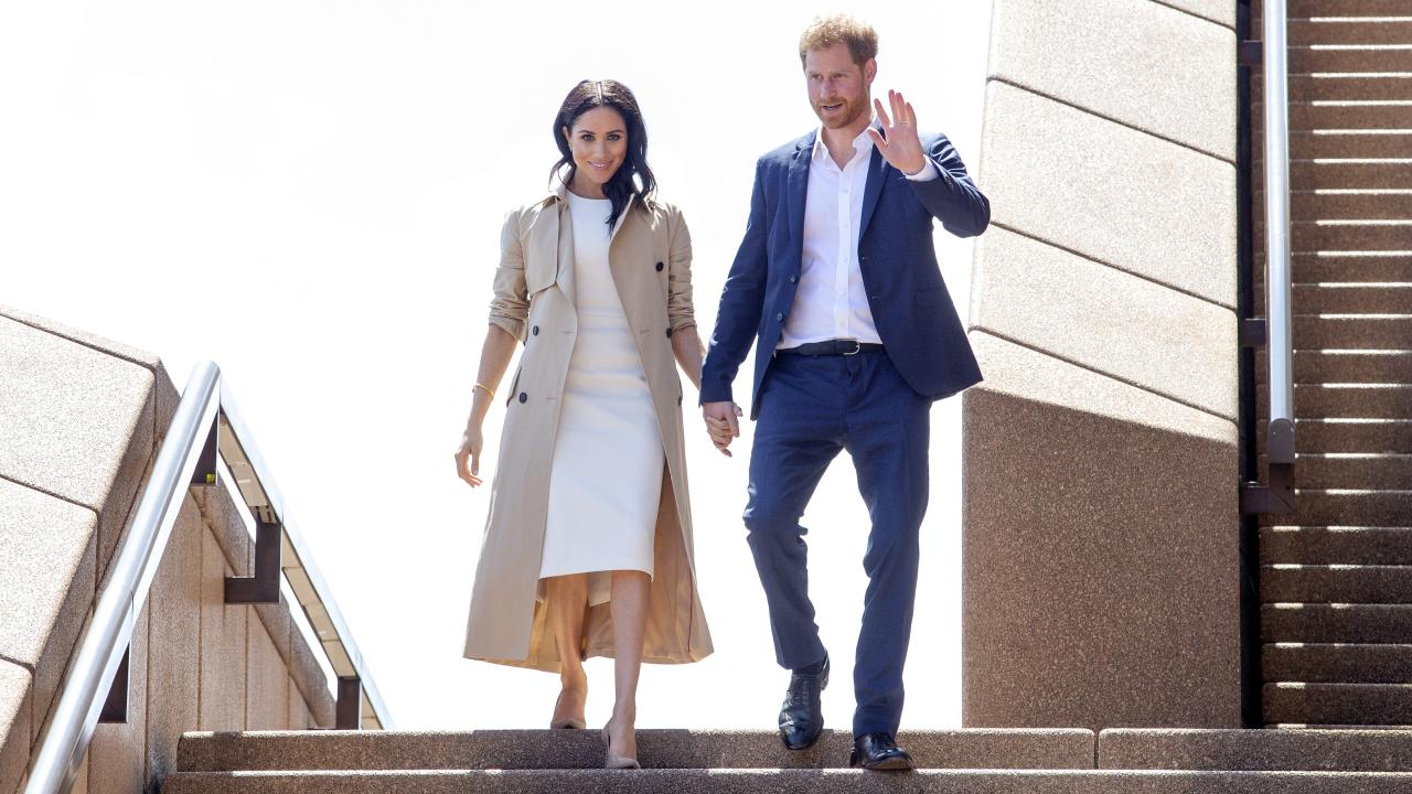 The Duke and Duchess of Sussex, Harry and Meghan during a walk and meet at The Sydney Opera House, today. Picture: Justin Lloyd.