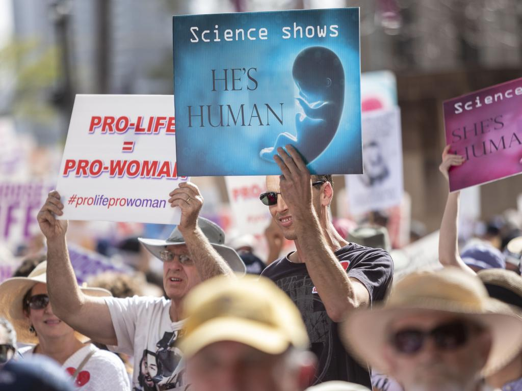 Protesters hold placards during a pro-life rally in Brisbane earlier this month, protesting the Queensland Government's proposed move to decriminalise abortion. Picture: Glenn Hunt/AAP
