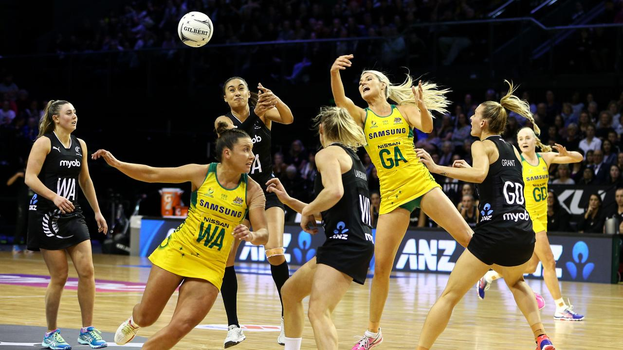 Diamonds, Ferns battle for possession. Picture: Getty