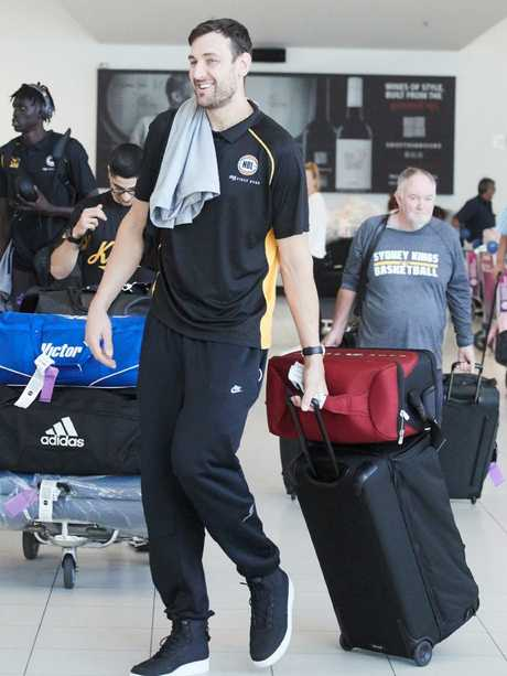 Andrew Bogut arrives in Adelaide with the Sydney Kings. Picture: MATT LOXTON