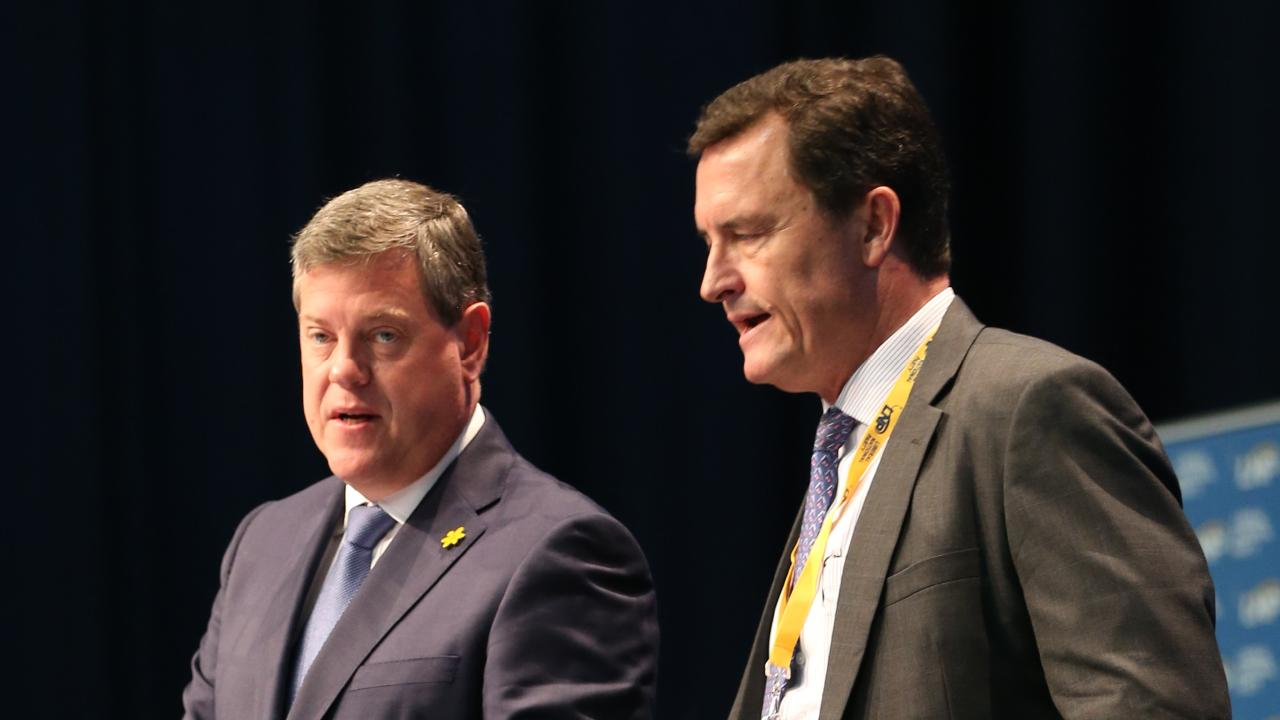 Tim Nicholls and Gary Spence at a previous LNP state conference