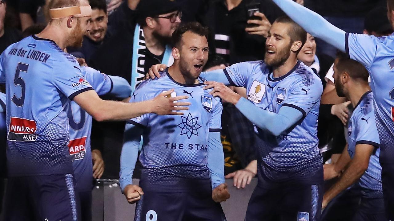 Sydney FC striker Adam Le Fondre celebrates scoring against Western Sydney Wanderers in their FFA Cup semi-final. Picture: Getty Images