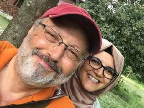 Jamal Khashoggi with his fiancee Hatice Cengiz. Picture: Facebook