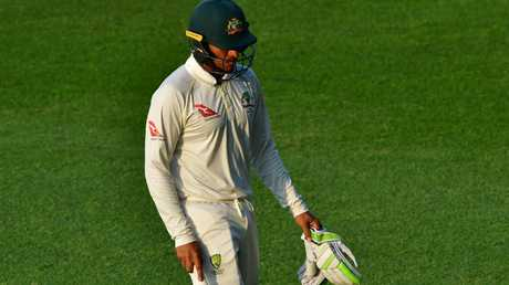 Usman Khawaja is nursing a knee injury. Picture: AFP.