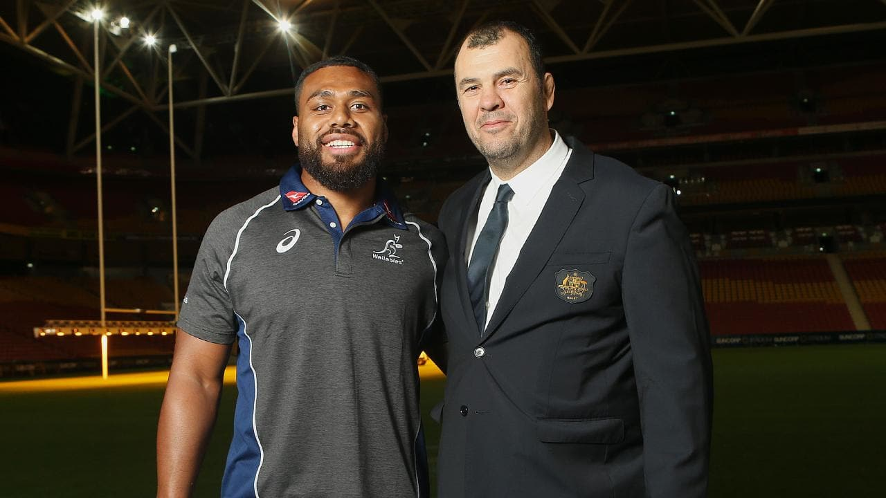 Samu Kerevi and Wallabies Coach Michael Cheika. Picture: Getty Images