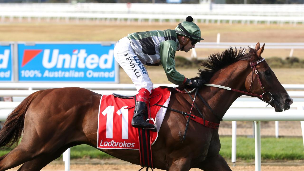 Jockey Dean Yendall riding Kings Will Dream wins Race 7, the Ladbrokes Mornington Cup, during Ladbrokes Mornington Cup Day at Mornington Racecourse in Mornington, Victoria, Saturday, March 24, 2018. (AAP Image/Mark Dadswell) NO ARCHIVING, EDITORIAL USE ONLY